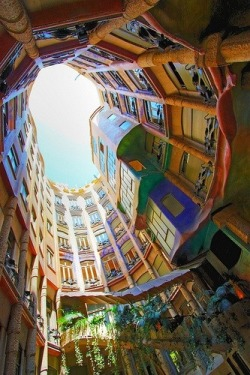 One of the Top 10 Strangest buildings in the world.. found in Casa Mila in Barcelona Spain designed by Antoni Gaudi