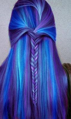 hair fashion blue braid blue hair fish tail hair chalk