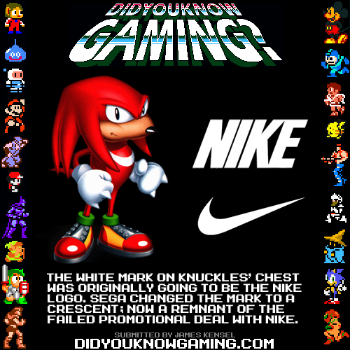 didyouknowgaming:  Sonic the Hedgehog 3. http://info.sonicretro.org/Knuckles_the_Echidna#Miscellaneous