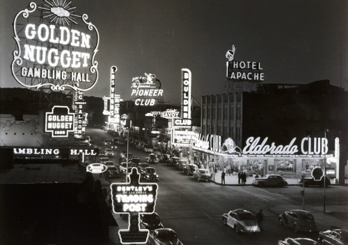 vintagelasvegas:  Fremont St at Second St, 1948. El Dorado opened 1947. Club Savoy closed 1949.  Another 1948 view. Thanks: lasvegasmikey.com/strip_history.htm
