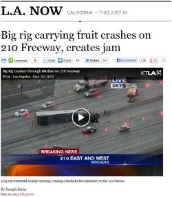 Fruit truck crashes, creates jam [x]