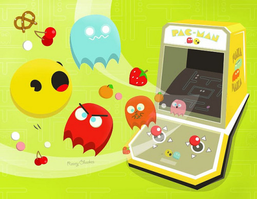geekylifestyle:  Pac-Man Tribute by roseycheekes on Flickr.