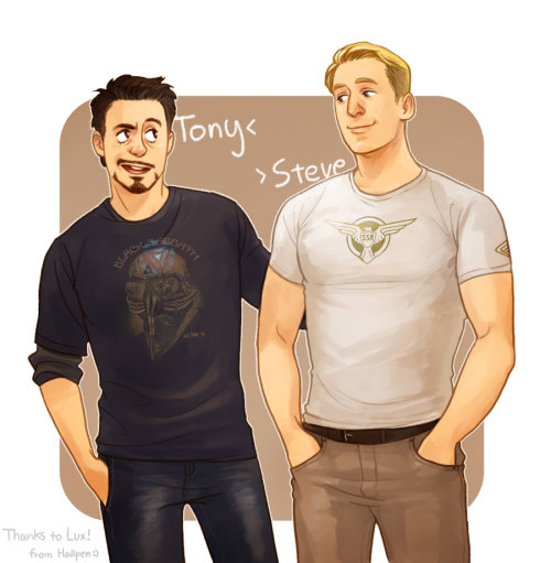 stevetonyfeels:  Tony and Steve by *Hallpen