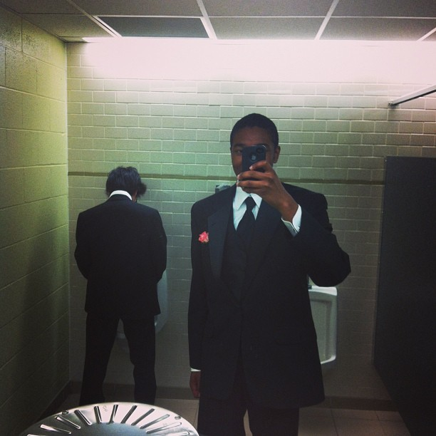Prom selfie with Teppei peeing in the background.