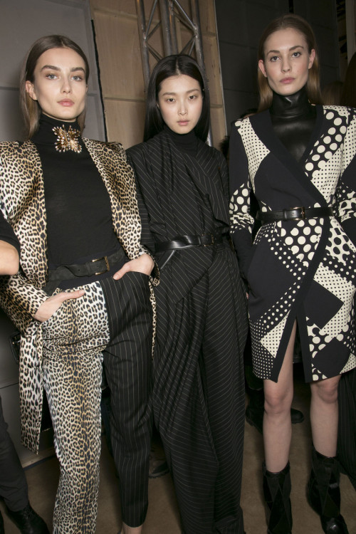 Andreea Diaconu, Sung Hee, and Nadja Bender backstage at Emanuel Ungaro 2013 RTW