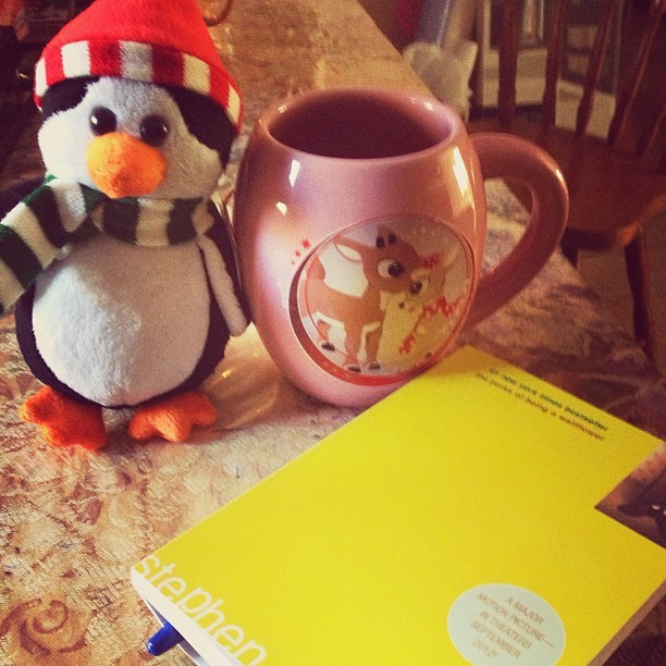 How I spent my #winterbreak 👍#joethepenguin #cupoftea #perksofbeingawallflower 😊 #original