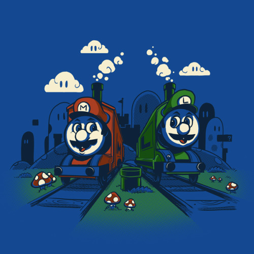 """Super Train Bros!"" by Drawsgood Illustration and Design. Available at Red Bubble Drawsgood Illustration and Design website  