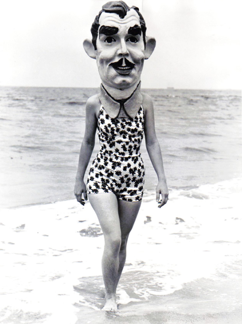vintagegal:  Clark Gable Mask at Venice Beach, California, 1937