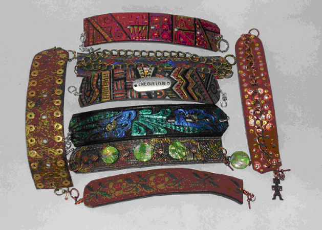 DIY Recycled Belt Bracelets by Barbara Matthessen.