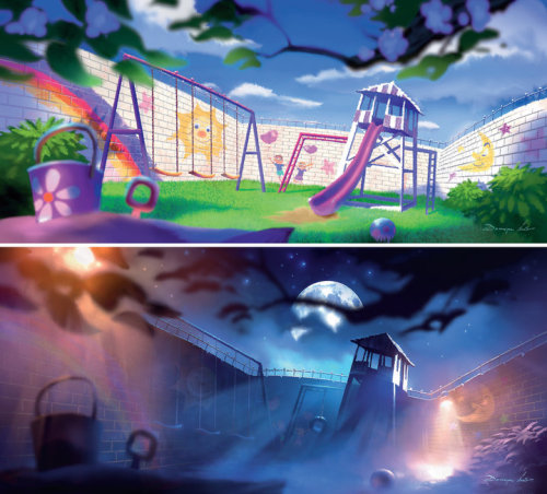 disneypixar:  Pastel art shows that Sunnyside isn't quite so sunny at night.