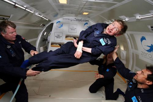 "scinerds:  Happy Birthday Stephen Hawking! ""It surprises me how disinterested we are today about things like physics, space, the universe and philosophy of our existence, our purpose, our final destination. Its a crazy world out there. Be curious."" — Prof. Hawking  Image: Noted physicist Stephen Hawking (center) enjoys zero gravity during a flight aboard a modified Boeing 727 aircraft owned by Zero Gravity Corp. (Zero G). Hawking, who suffers from amyotrophic lateral sclerosis (also known as Lou Gehrig's disease) is being rotated in air by (right) Peter Diamandis, founder of the Zero G Corp., and (left) Byron Lichtenberg, former shuttle payload specialist and now president of Zero G. Kneeling below Hawking is Nicola O'Brien, a nurse practitioner who is Hawking's aide. At the celebration of his 65th birthday on January 8 2007, Hawking announced his plans for a zero-gravity flight to prepare for a sub-orbital space flight in 2009 on Virgin Galactic's space service. Credit: NASA Stephen William Hawking, CH, CBE, FRS, FRSA (born 8 January 1942) is a British theoretical physicist, cosmologist, and author. Among his significant scientific works have been a collaboration with Roger Penrose on gravitational singularities theorems in the framework of general relativity, and the theoretical prediction that black holes emit radiation, often called Hawking radiation. Hawking was the first to set forth a cosmology explained by a union of the general theory of relativity and quantum mechanics. He is a vocal supporter of the many-worlds interpretation of quantum mechanics. He is an Honorary Fellow of the Royal Society of Arts, a lifetime member of the Pontifical Academy of Sciences, and a recipient of the Presidential Medal of Freedom, the highest civilian award in the United States. Hawking was the Lucasian Professor of Mathematics at the University of Cambridge between 1979 and 2009. Hawking has achieved success with works of popular science in which he discusses his own theories and cosmology in general; his A Brief History of Time stayed on the British Sunday Times best-sellers list for a record-breaking 237 weeks. Hawking has a motor neurone disease related to amyotrophic lateral sclerosis (ALS), a condition that has progressed over the years. He is almost entirely paralysed and communicates through a speech generating device."