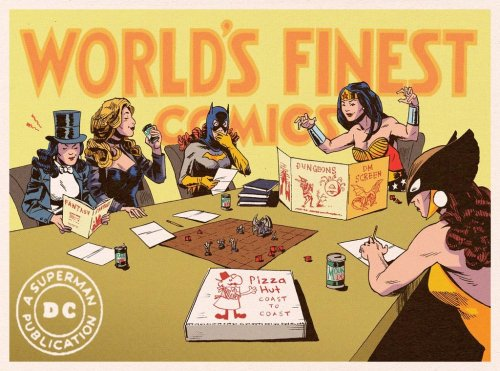 umbrellatemplar:  fuckyeah-nerdery:  World's Finest Spoof by Kyle Latino. Yes! Yes! Yes! I love the idea of them playing D&D on their downtime. Class wise, I think Batgirl would play a rogue. Black Canary, a bard. Zatanna, a wizard, and Hawkgirl, a fighter, obviously.  Head canon accepted. Geek approved.