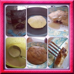 Today's breakfast: chocolate chip pancakes! #breakfast #cooking #chocolatechip #pancakes #homemade #yummy #food #instafood #diy #hersheys