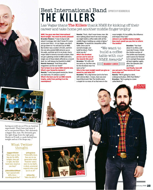talkstostrangers:  The Killers in NME Magazine 09 March 13' [HQ]