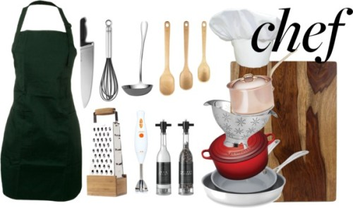 "Gift Guide for the Beginner Cook by simonesjewel on PolyvoreMauviel Copper Saucepans / Le Creuset Signature Round French Oven 4-1/2 Qt / Alessi La Cintura di Orione, Cook's knife / Zwilling J.A. Henckels Spirit Stainless-Steel Nonstick Fry Pan, Set of… / Nambé Gourmet Curvo Colander / Architec Gripper Gourmet Wood 10"" X 15"" Cutting Board / Rösle Silicone Egg Whisk / Soil Release Easy Care Full Lengh Apron / Stainless Steel Box Grater Kitchen Tools and Cooking Utensils by… / Towle® Living Basic Sauce Ladle / Chef Hat / Handheld Blender / OXO Good Grips Wooden Spoon Set 3-pc"