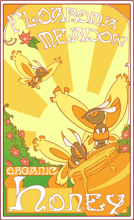 Day 7: Favorite bug type - Mothim! I really love the art nouveau style, especially when applied to advertisements. UvU I got a little carried away with this one. I'll have to keep the rest to doodles as this was a little too time consuming to get done in just one day, heh.