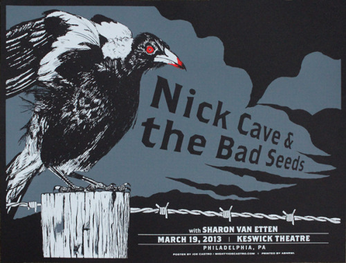 jungleindierock:  Nick Cave and the Bad Seeds / Sharon Van Etten gig poster by Joe Castro