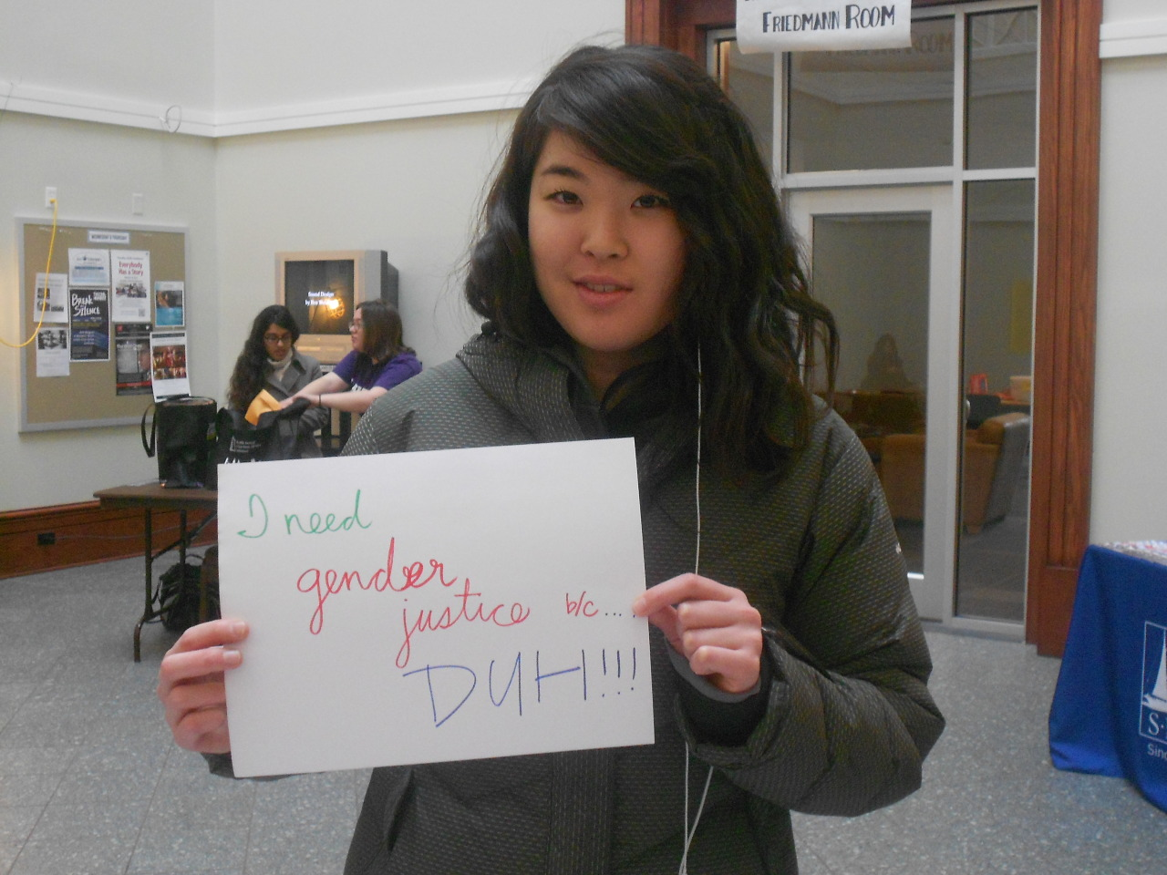 "perpetualperseveration:  amherstneedsgenderjustice:  ""I Need Gender Justice b/c…DUH!!!"" Amherst College, I Need Gender Justice Project  reblogging for that sexy mofo in the purple shirt in the corner"
