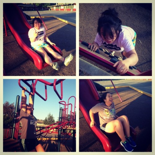 Had a blast at a playground! #playground #kids #asianbitch #toobig #slides #monkeybars #thestruggle  (at Canoas Elementary)