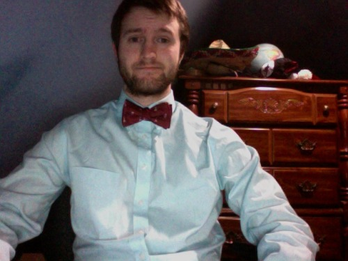 Huge sale are JCPenney meant I could buy a bow tie and start learning. First attempt at tying a bow tie.