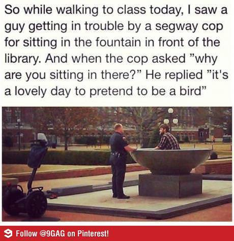 with-love-not-war:  So I go to OSU and this guy literally decided to sit in the fountain and play on his laptop and oh my god I love my school… I can't.  God damn do I miss OKState.