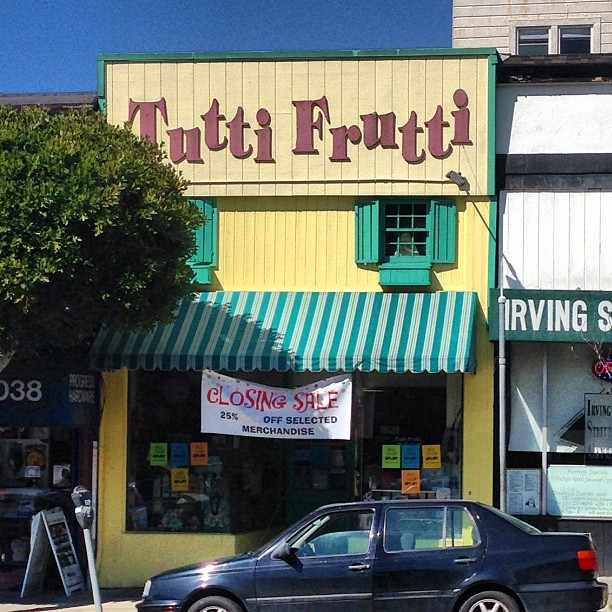 njudah:  WTF? Tutti Frutti is going out of business? Damn. (at Tutti Frutti)   beejweir: That sucks!