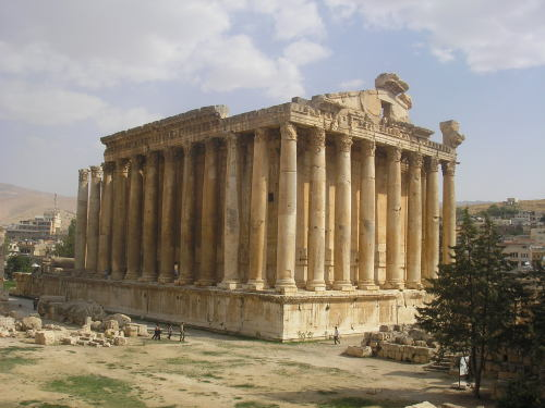 ancientart:  The Ancient Roman Temple of Bacchus in Baalbek, Lebanon, ca. 150 AD. The temple was commissioned by Roman Emperor Antoninus Pius, and is considered one of the best preserved Roman temples in the world. Courtesy & taken by Dominik Tefert