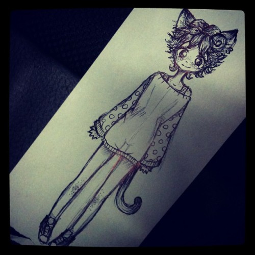 drawing kitty girls at work because bored