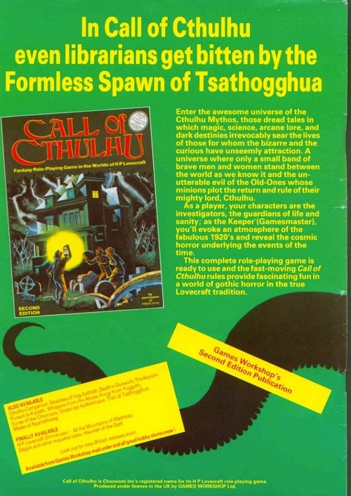 Advert for Call of Cthulhu 2nd edition Games Workshop printing circa 1983.
