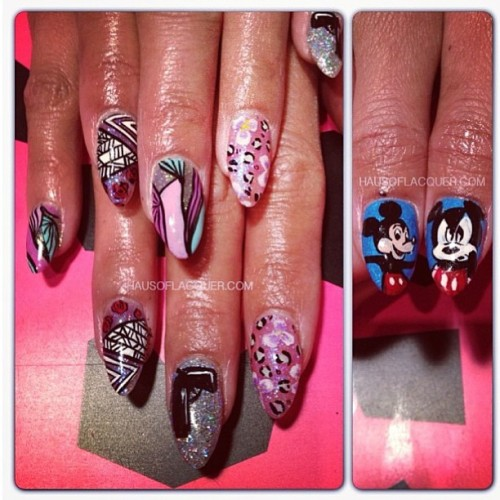 Crazy detailed set for @riaramirez by @hausoflacquer #nailed #nailart #nailartporn #nailartswag #crownthequeens #holsnails