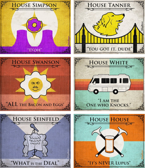 Game of Thrones House Sigils for Other TV Families What House are you loyal towards?
