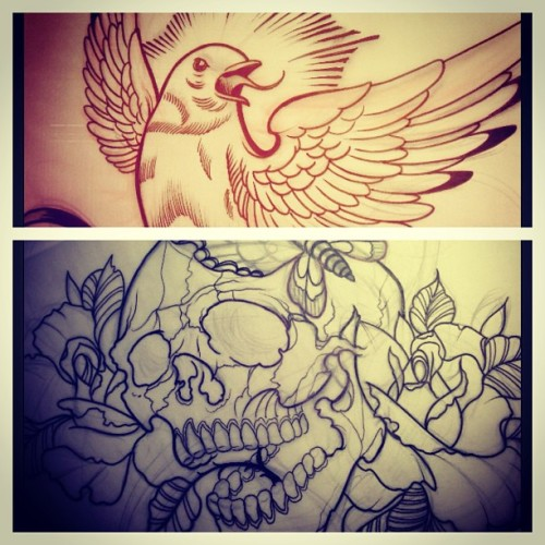 Designs for my second sketchbook!!! …coming sooon.!!! #tattoo #sketchbook #sketch #book #bird #skull #willemxsm