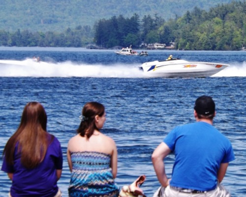 Spectators watch performance boat races at Lake George Performance Weekend, May 18, 2013, Lake George, N.Y.