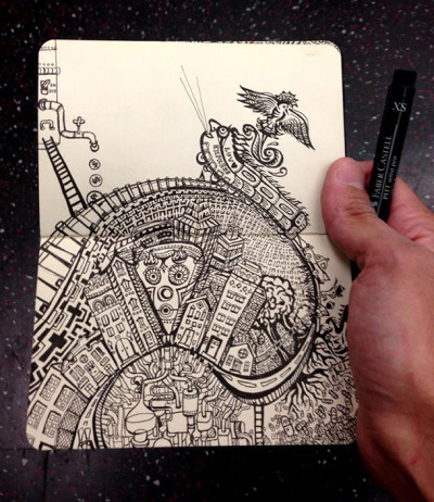 """Subway Series"" are drawings done only while commuting on NYC Subways, by Vedran Misic."