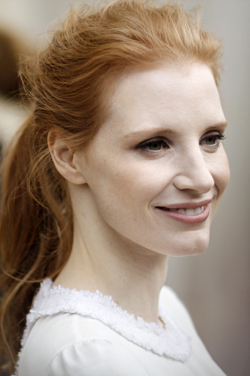 Jessica Chastain, star actress from the film Zero Dark Thirty, outside the Chanel AW13 show