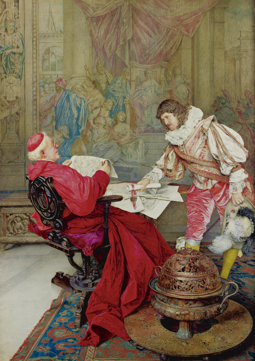 monsieurleprince:  Giuseppe Signorini (1857 - 1932) - A Musketeer presenting a petition for the Pope to the Cardinal Secretary of State, 1923