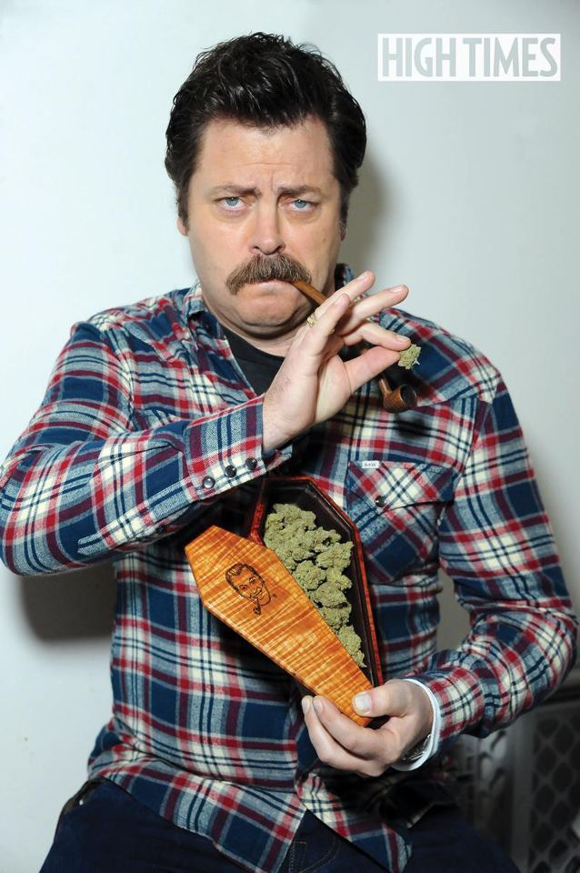HIGH TIMES Interview: Nick Offerman Best known as Ron Swanson on NBC's Parks and Recreation, Nick Offerman brought a handcrafted pot pipe and stashbox to his interview, then helped us whip up a batch of Maple Bacon Ganja Chocolate Chip Cookies! (link)  Have I already said that Ron Swanson is my spirit animal?
