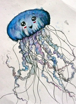 Someone asked me to paint a Jellyfish for them. This is not exactly what she asked for, but I have not slept in 3 days and this is the best I can do right now. watercolor, india ink