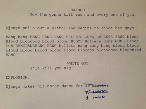 shitroughdrafts:  Shit Rough Oscars: Django Unchained, by Quentin Tarantino.