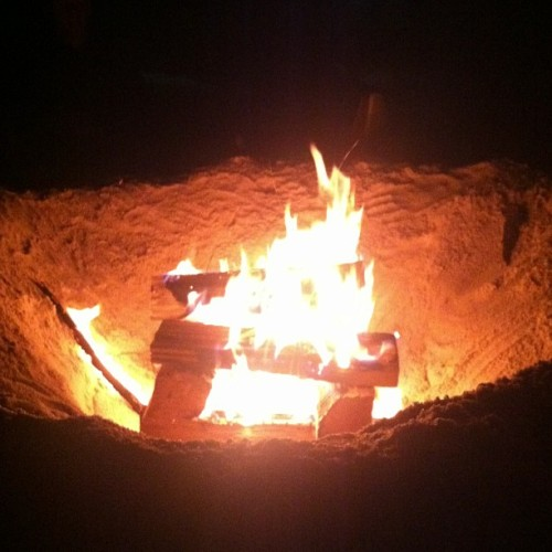 Beach bonfire on a Saturday night because we can. (at Thousand Steps Beach)