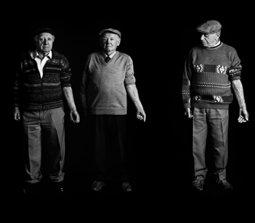 "girloverhere:  Three men who stood in the same line in Auschwitz have nearly consecutive numbers: From left, Menachem Shulovitz, 80, bears B14594; Anshel Udd Sharezky, 81, was B14595; and Jacob Zabetzky, 83, was B14597.  ""We were strangers standing in line in Auschwitz, we all survived different paths of hell, and we met in Israel,"" Mr. Sharezky said. ""We stand here together now after 65 years. Do you realize the magnitude of the miracle?""  I can't help but wonder about the dark gap between them that is B14596."