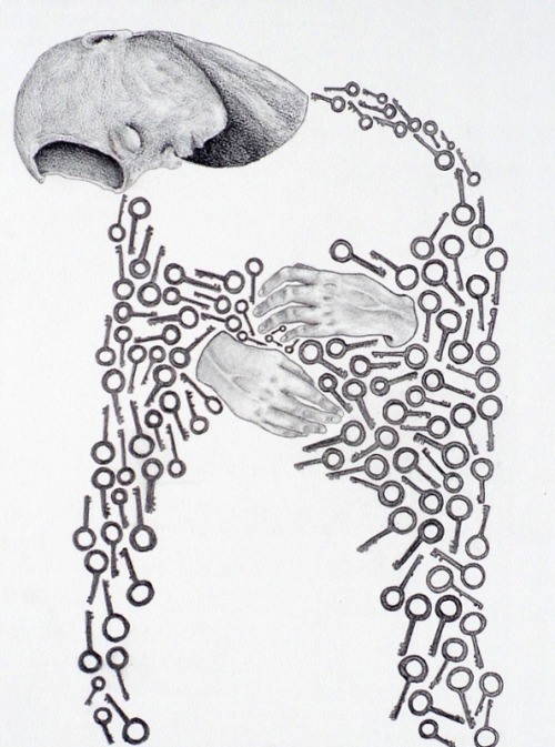 """The Key"" Graphite on watercolor board16 x 20Beth Burford"