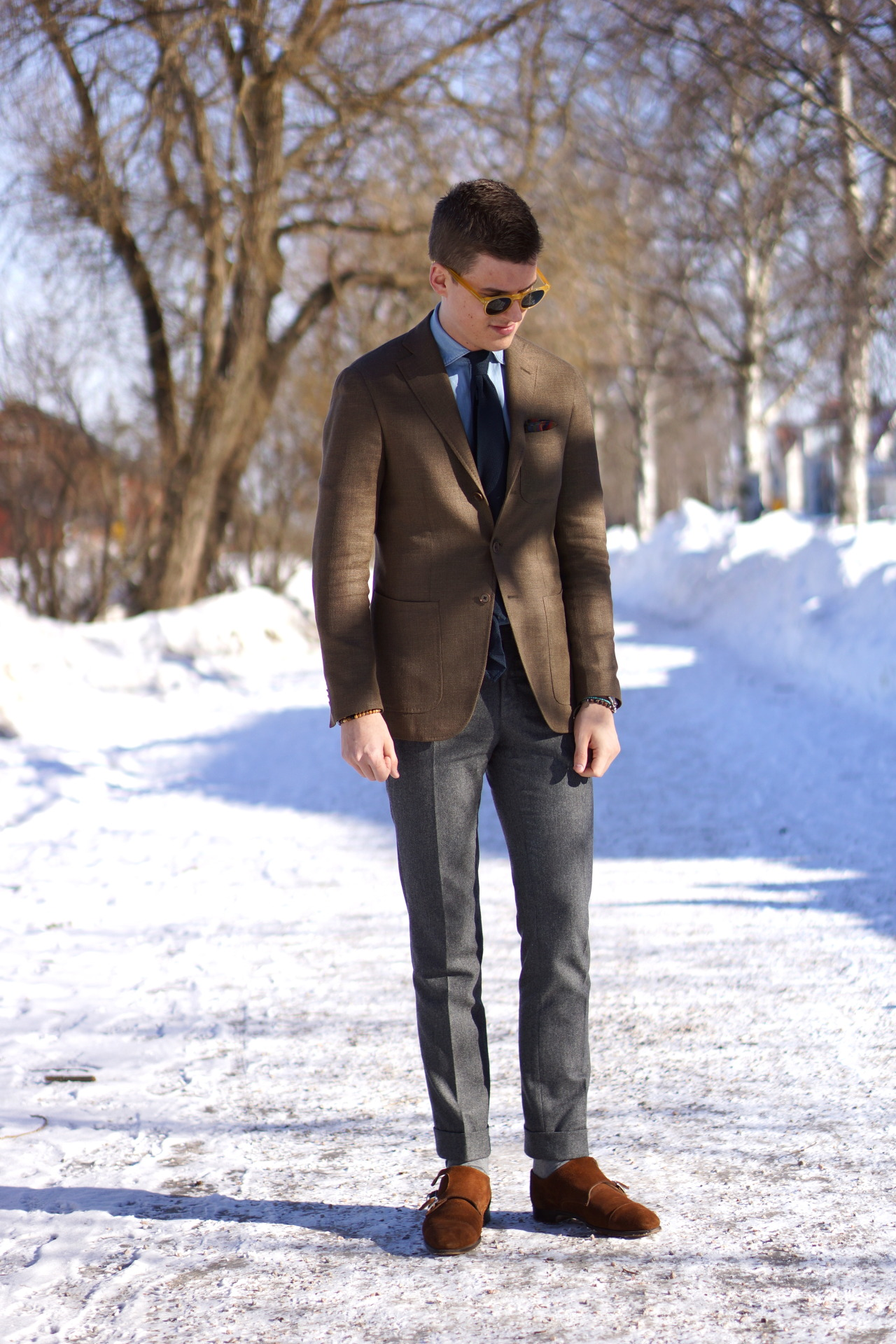 sartorialdoctrine:  WIWT Sportcoat: Caruso x Gabucci, Shirt: Del Siena, Tie: Passaggio Cravatte, Pochette: Drake's, Trousers: Incotex, Shoes: Ovadia & Sons, Sunglasses: Epos.   Colours and textures.