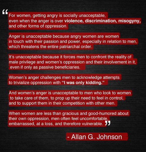 femfreq:  Allan G. Johnson is the author of the excellent book The Gender Knot: Unraveling Our Patriarchal Legacy. I highly recommend it.
