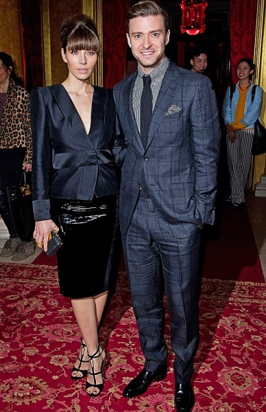 Justin Timberlake + Jessica Biel attend Tom Ford's show during London Fashion Week on Monday