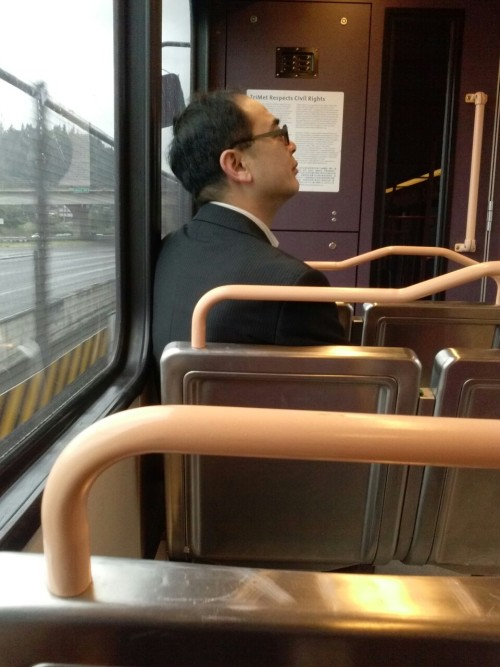 Just creepin on Asian businessmen on the train. No big deal.