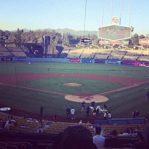 View from our seats; Go Dodgers!! (at Dodger Stadium)