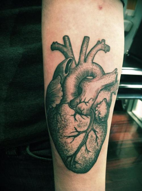"fuckyeahtattoos:  ""It was the beating of his hideous heart"" -The Tell-Tale Heart by Edgar Allan Poe  Tattoo done by Erik Jacobsen at Idle Hand Tattoo in San Francisco, California."