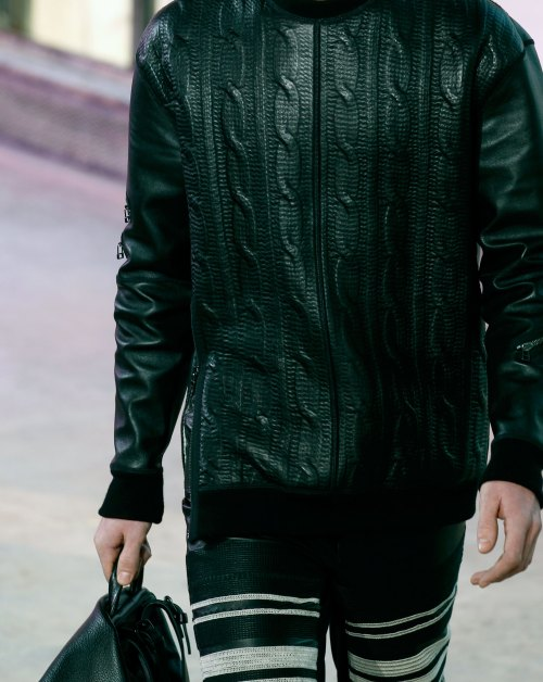 wgsn:  Leather emulating Aran-style cables @31PhillipLim #PFW #Menswear
