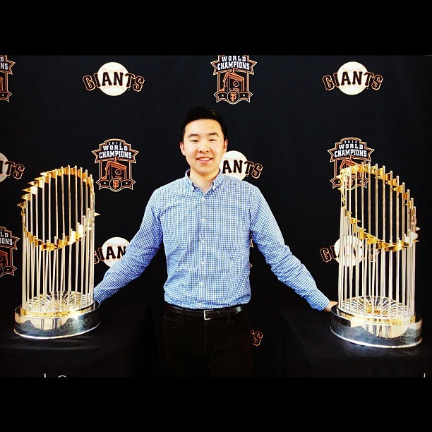 The 2010 & 2012 World Series trophies. #SF #Giants (at Pixar Animation Studios)